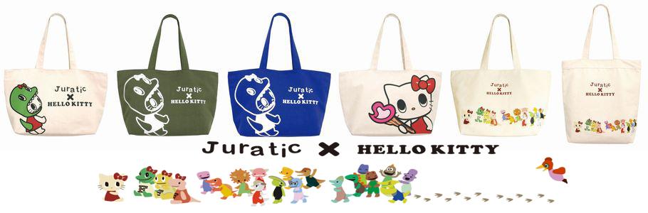 サンリオ HELLO KITTY トートバッグ / ジュラチックフレンズ横型 / Juratic×Hello Kitty(ZATOTE-06BE)