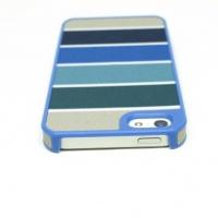 【iPhone5/5S/SE】センス抜群の布張りケース【ストライプ×ブルー】