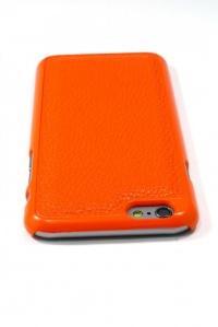 【iPhone6】磁石で取り外しできる手帳型ケース【オレンジ/ホワイト合皮】
